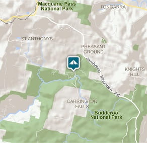 Map of Carrington Falls campground in Budderoo National Park