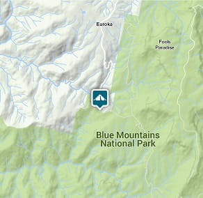 Map of Dunphys campground location in Blue Mountains National Park. Image: OEH