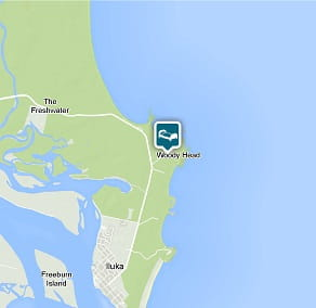 Map image of Forest house location at Woody Head, Bundjalung National Park.