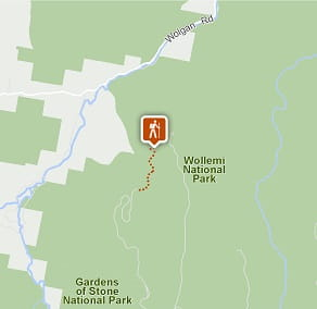 Map of Glow Worm Tunnel walking track, Wollemi National Park. Image: OEH
