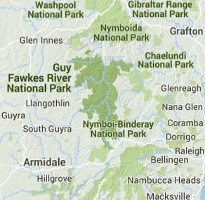 Map of Guy Fawkes River National Park