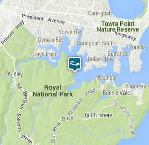 Map of Hill Top accommodation in Royal National Park.