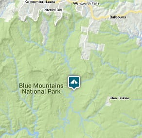 Map of Kedumba campground location in Blue Mountains National Park. Image: OEH