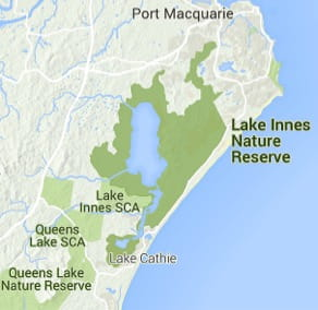 Map of Lake Innes Nature Reserve