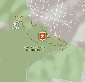 Map of National Pass walking track in Blue Mountains National Park