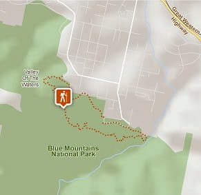 Map of Overcliff-Undercliff track in Blue Mountains National Park. OEH