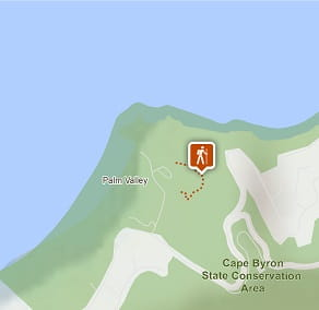 Map of Palm Valley Currenbah walking track, Cape Byron State Conservation Area. Image: OEH