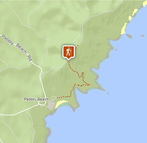 Map of Pebbly Beach to Durras Mountain walking track, Murramarang National Park. Image: OEH