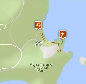 Map of Rock Platform walk, Depot Beach in Murramarang National Park. Image: OEH