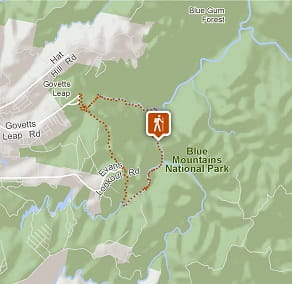 Map of Rodriguez Pass walking track, Blue Mountains National Park. Image: OEH