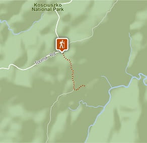 Map of Round Mountain Hut walking track in Kosciuszko National Park