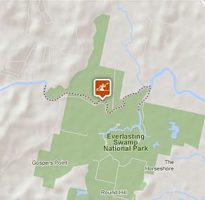 Map of Sportsmans Creek canoe trail. Image: OEH