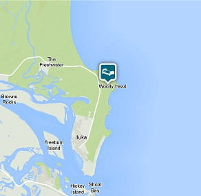 Map of Swamp House location at Woody Head, Bundjalung National Park