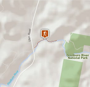 Map of The Drip walking track in Goulburn River National Park.