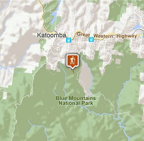 Map of Three Sisters walk in Blue Mountains National Park