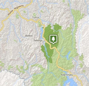 Map of Tumut area in Kosciuszko National Park. Image: OEH