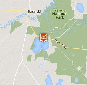 Map of Yanga Lake paddle in Yanga National Park