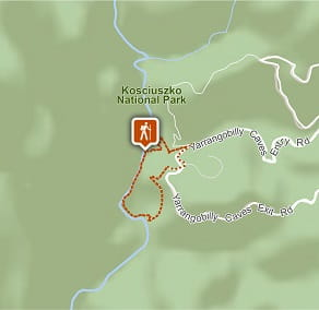 Map of Yarrangobilly Caves River walk in Kosciuszko National Park