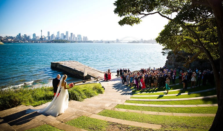 Bradleys Head wedding, Sydney Harbour National Park. Photo: Darren McKay/McKay Photography