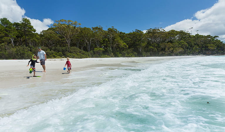 A father and two children play by the waves at Chinamans Beach, Jervis Bay National Park. Photo: David Finnegan © DPIE