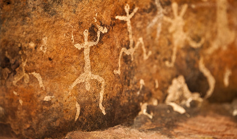 Aboriginal paintings in Gundabooka Historic Site. Photo: David Finnegan