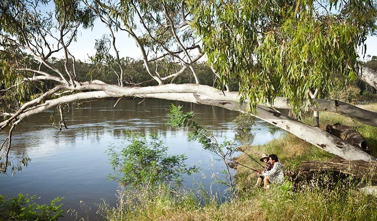 Two friends fishing at the river, Murray Valley National Park. Photo: David Finnegan