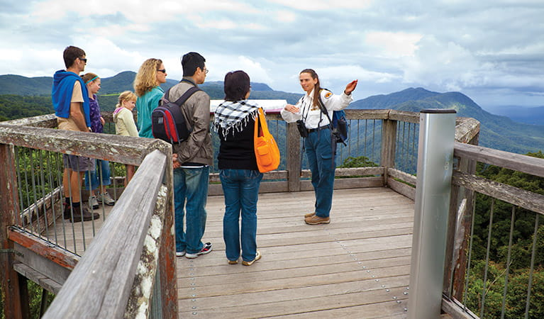 Volunteer guides visitors through the Skywalk lookout, Dorrigo National Park. Photo: Rob Cleary/Seen Australia