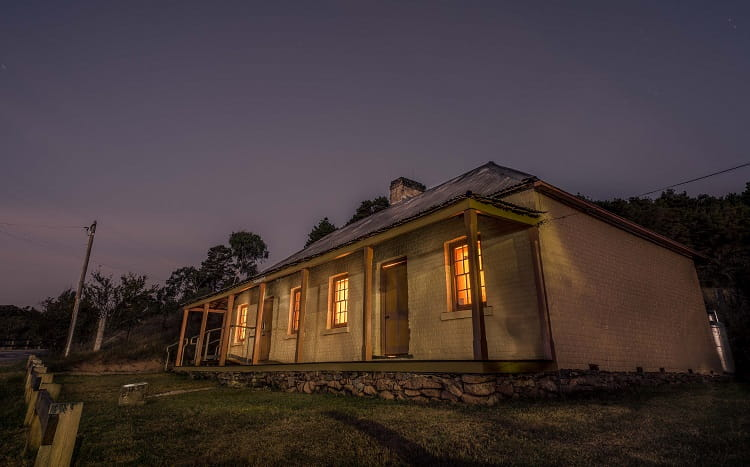 Old Trahlee at dusk, Hartley Historic Site. Photo: David Hill, Deep Hill Media