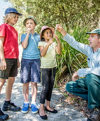 Kids with NPWS ranger on a WilderQuest school holiday tour. Photo: Rosie Nicolai/OEH