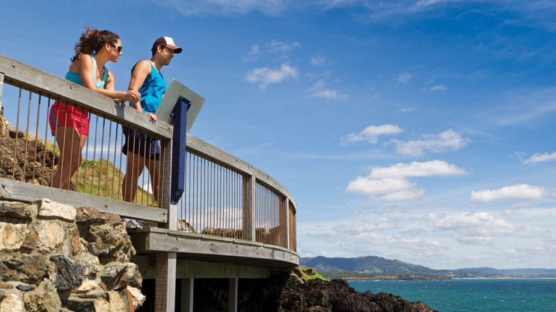 People at a lookout in Muttonbird Island Nature Reserve. Photo: Rob Cleary