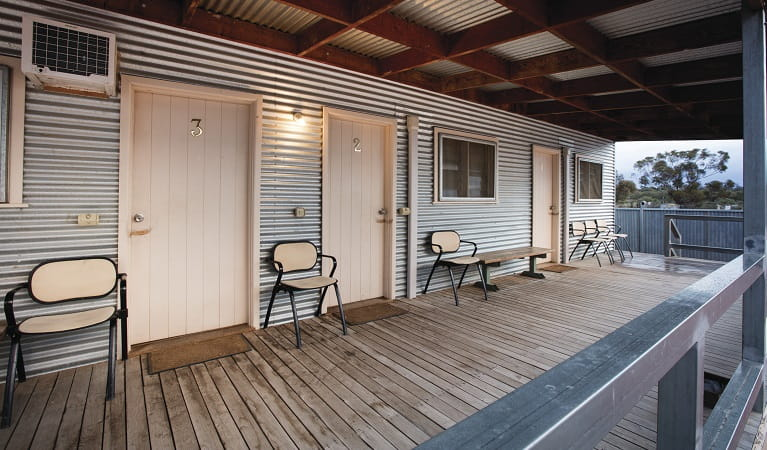 Mungo Shearers' Quarters verandah, Mungo National Park. Photo: Vision House Photography