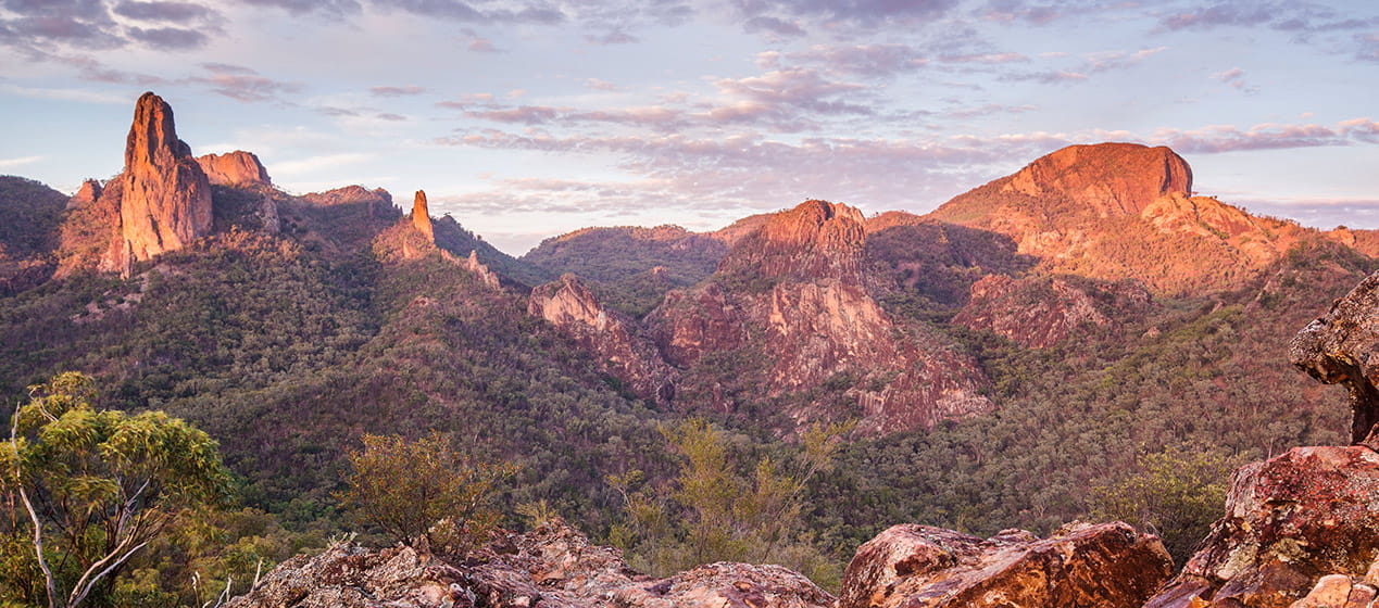 Breadknife and Grand High Tops in Warrumbungle National Park. Photo: Copyright Simone Cottrell