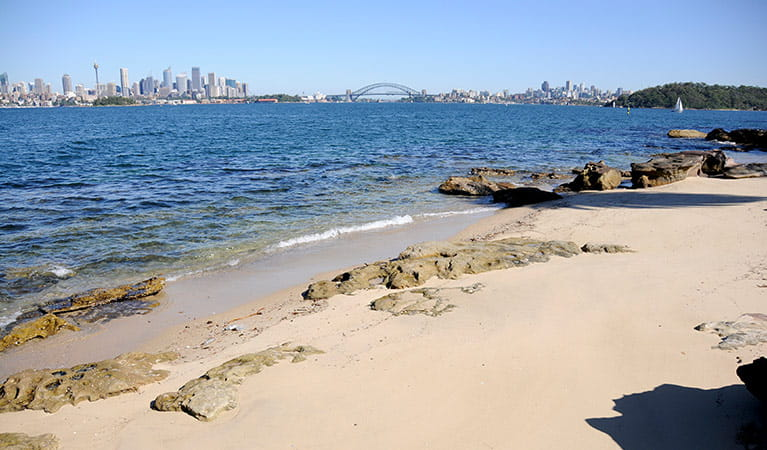 The beach at Shark Island, Sydney Harbour National Park. Photo: John Yurasek