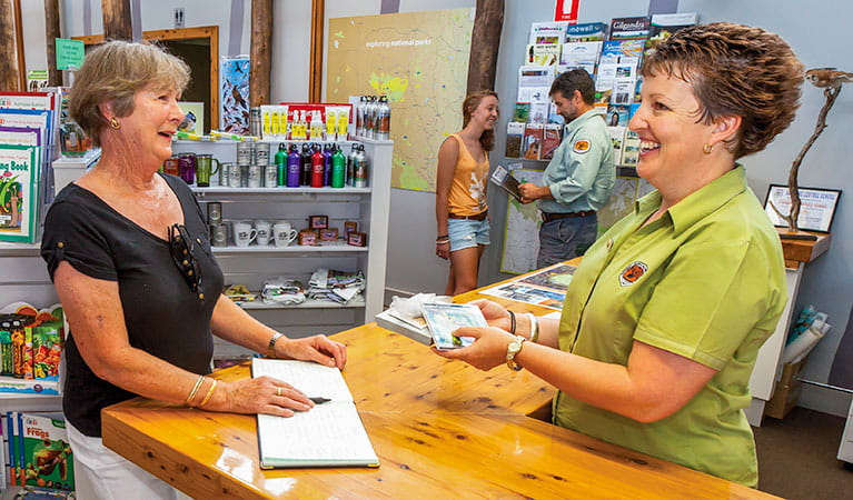 Volunteer in Pilliga Information Centre, Pilliga National Park. Photo: Rob Cleary/Seen Australia