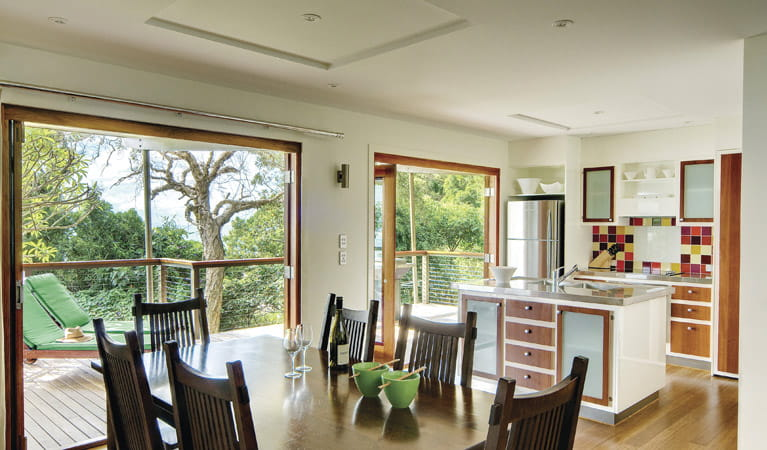 Dining area, Thomson Cottage, Cape Byron State Conservation Area. Photo: David Young