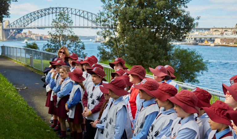 Students at Goat Island experiencing spectacular Sydney Harbour views during a Convict Kids school excursion. Photo: Tanja Bruckner