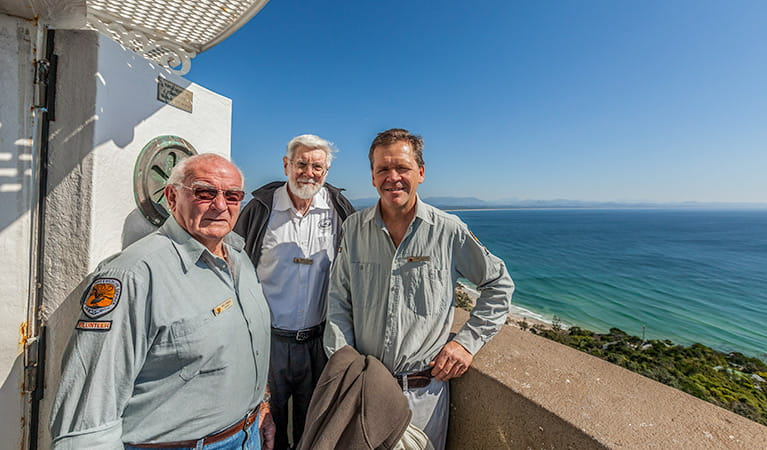Volunteers in the Cape Byron lighthouse, Cape Byron State Conservation Area. Photo: Murray Vanderveer