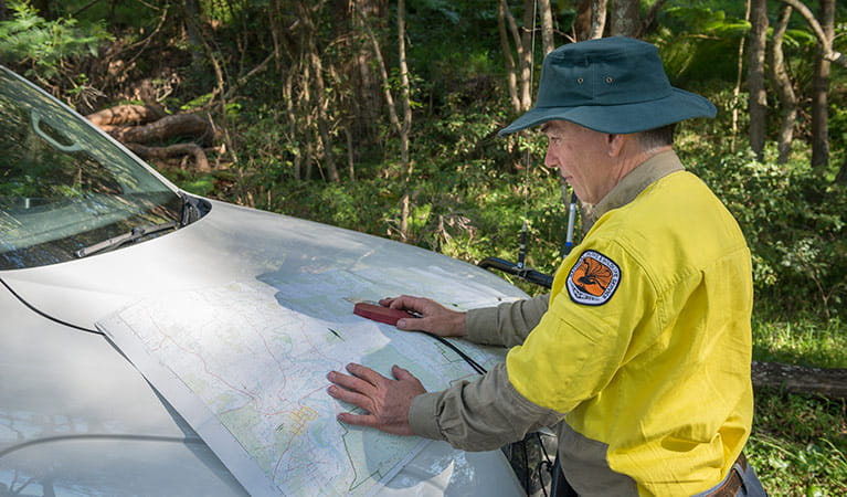 Ranger conducting a map survey, Tomaree National Park. Photo: John Spencer