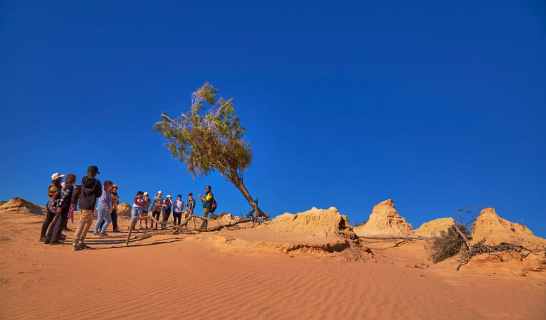 Students visiting Mungo National Park on the Walls of China school excursion. Photo: Tanja Bruckner
