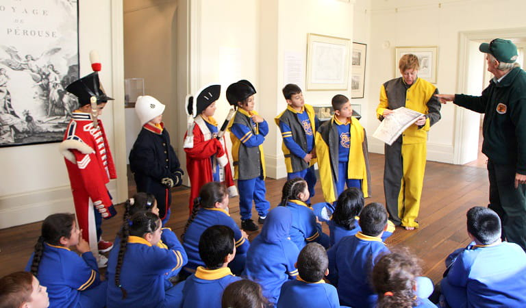 Students learning about the history of Botany Bay through role play. Photo: Kim Collas