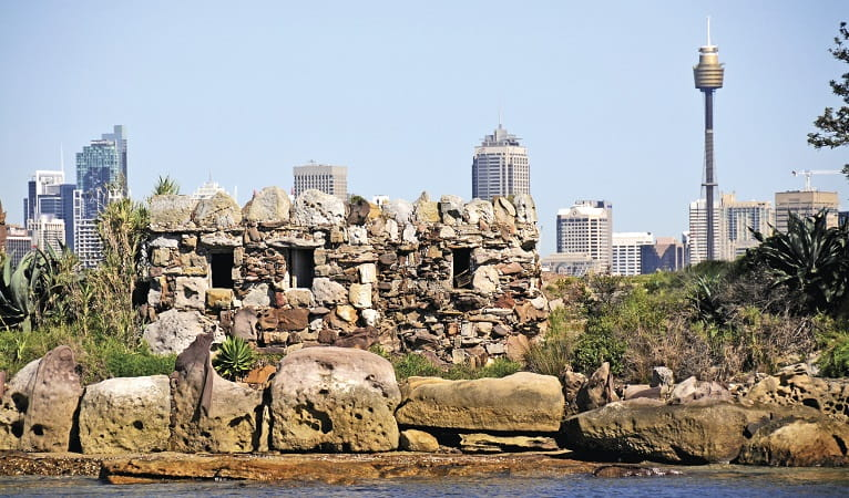 Sandstone grotto on Shark Island, Sydney Harbour National Park. Photo: K McGrath/OEH