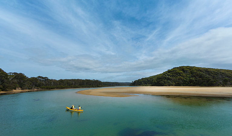 Couple canoeing in Nelsons Lagoon, Mimosa Rocks National Park. Photo: D Finnegan/OEH