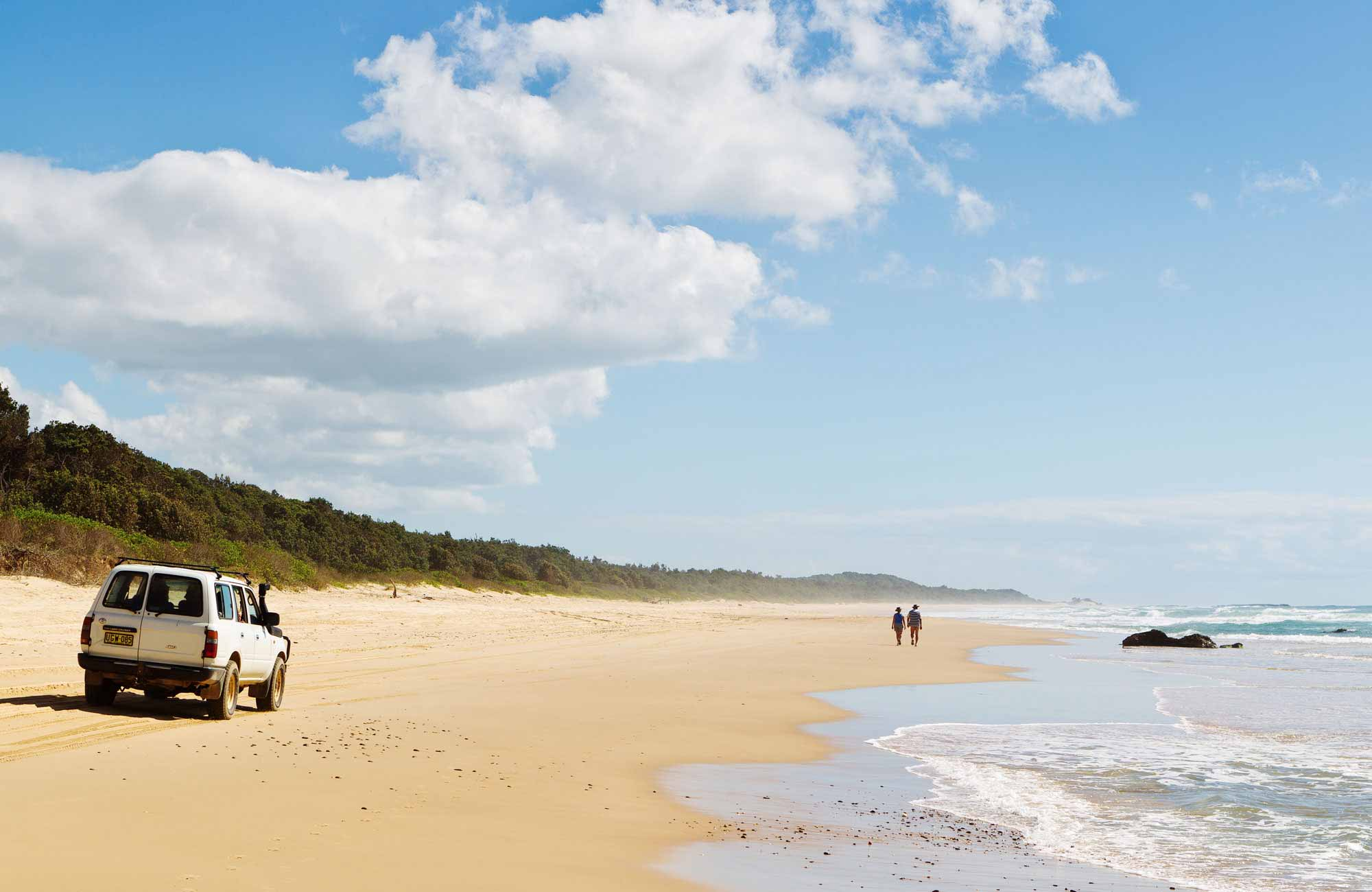 4WD vehicle on the beach, Bongil Bongil National Park. Photo: Rob Cleary